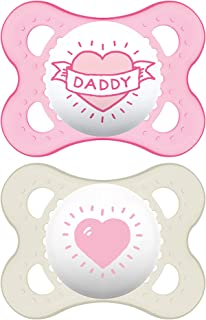 MAM I Love Daddy Collection Pacifiers (2 pack, 1 Sterilizing Pacifier Case), MAM Pacifier 0-6 Months, Baby Pacifiers, Baby...