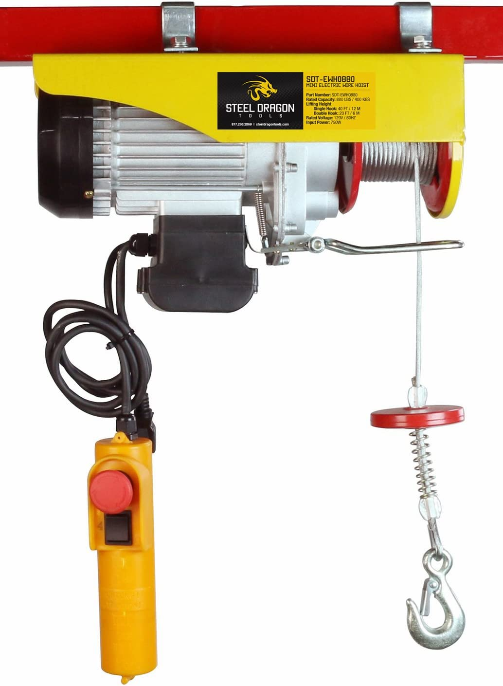 Steel Dragon All stores are sold Tools 880 LBS Mini Louisville-Jefferson County Mall Hoist Electric Wire Cable Overhe