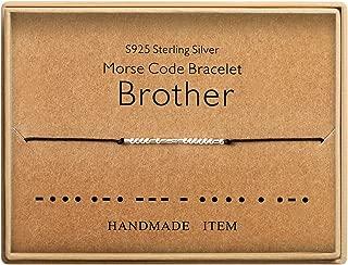 Morse Code Bracelet Brother Sister Gift Sterling Silver Beads on Silk Cord inspirational Gift Birthday Gift for women Girls