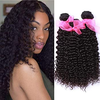 Amazon Com 10a Malaysian Kinky Curly Human Hair 3 Bundles 10 12 14inch 100 Unprocessed Virgin Malaysian Curly Weave Hair Human Bundles Wet And Wavy Curly Human Hair Extensions Beauty