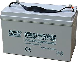 100 Ah 12 V fotografiska universum djupcykel AGM-batteri för en husbil, husvagn, husbil, båt (fritidsbatteri), sol, vind U...