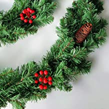 YYYux Christmas Garland Ornaments Artificial Spruce Festive Room Banquet Garland Decoration Pine Cones Red Berries Green f...