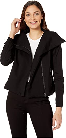 Ponte Fabric Drape Front Zipper Jacket in Caviar