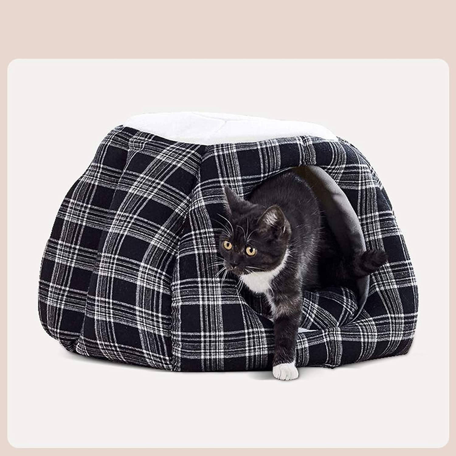JSSFQK Four Seasons Universal Cat Room Plaid Cloth Cat Sofa Pumpkin Shape, Four Seasons Universal, Suitable For Cats Within 7.5kg pet bed