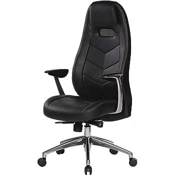 AMSTYLE, Bürostuhl, Bari, schwarz Echt Leder Design Schreibtischstuhl Armlehne Chefsessel höhenverstellbar 120KG