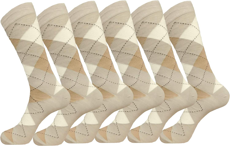 Royal Classic Groomsmen Socks - Mens ARGYLES - Wedding Socks - BEIGE CREAM VANILLA DRESS SOCKS Size 10-13 (6-Pairs)