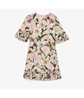 Lily Print Cady Dress with Ruches (Big Kids)