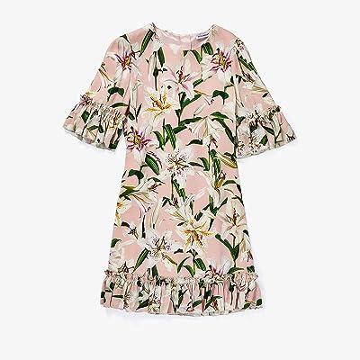 Dolce & Gabbana Kids Lily Print Cady Dress with Ruches (Big Kids) (Gigli Rosa) Girl