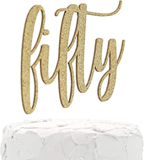 NANASUKO 50th Birthday Cake Topper - fifty - Double Sided Gold glitter - Premium quality Made in USA