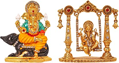 ART N HUB Combo 2 Statue God Ganesha & Ganpati Idol Puja Mandir/Temple & Car Dash Board Showpiece Statue Gift Item