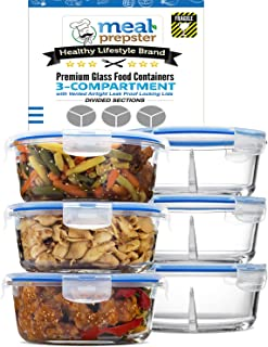 Glass Meal Prep 2 Compartment Round Containers with Vented Lids Gift Set (3 Pack) Dishwasher Freezer Microwave Oven Safe - BPA Free Food Storage Solution!