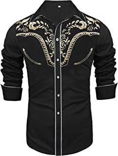 Daupanzees Men`s Long Sleeve Embroidered Shirts Slim Fit Casual Button Down Shirt