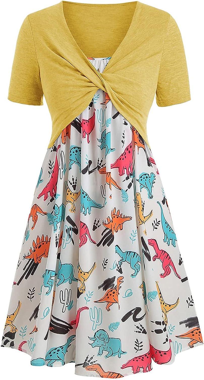 Summer Dress for Women Casual 2 Pieces Wrap Crop Top Dresses Outfits Dinosaur Graphic Sundress Flowy Beach Dress Suit