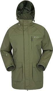Mountain Warehouse Glacier II Long Mens Waterproof Jacket - Taped Seams Rain Coat, Breathable Jacket, Detachable Hood, Qui...
