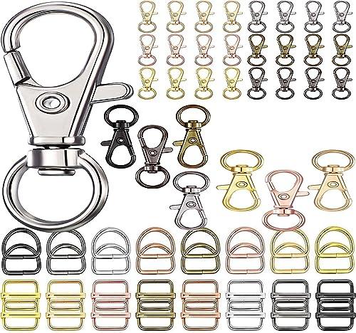 DIY Crafts Keyrings Keychains Round Swivel Snap Hooks Key Rings Metal for Lanyard ID Bags Wallets Luggage DIY Making Pcs As Choice 2 Pcs D Rings Pink Gold