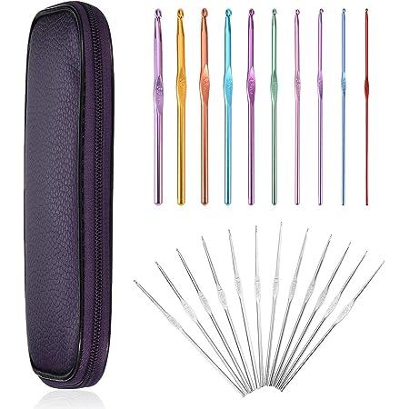 22 Pcs Aluminum Crochet Hooks Needles Knit Weave Craft Yarn 2mm to 10mm Set Kit