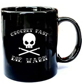 Crochet Fast Die Warm - Crochet - Funny Gift Black 15oz Ceramic Cozy Coffee Mug