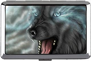 シガレットケースボックス、動物オオカミ猛烈な月光名刺入れ
