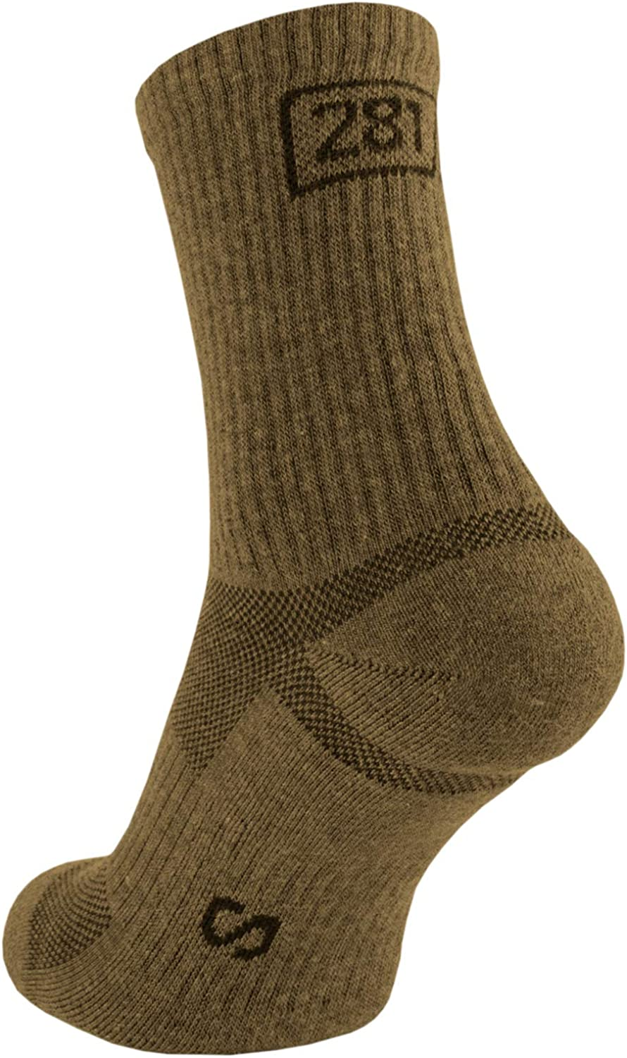 281Z Military Cotton Micro Crew Boot Socks - Cushioned Sole - Moisture Wicking - Hiking Outdoor (Coyote Brown)