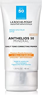 La Roche-Posay Anthelios Mineral Daily Tone Correcting Tinted Face Primer with Broad Spectrum SPF 50, Mineral Sunscreen wi...