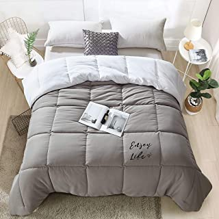 LANGRIA Reversible Down Alternative Comforter 300 GSM All-Season Grey/White Quilted Duvet Insert with Corner Tab, Sewn-Through Box-Stitching Brushed Shell Cover Soft and Comfy, King