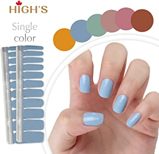 HIGH'S NEW DESIGN Nail Wraps Decals Art Transfer Sticker Collection Manicure DIY Fullnail Polish patch Strips for Wedding, Party, Shopping, Travelling, 20pcs(Dark Salmon) (Dusty Blue)