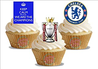 Baking Bling Chelsea Champions League Soccer Trio Pack - 12 Standup Edible Premium Wafer Paper Cake Toppers Decoration 12 X 55Mm