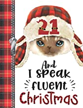 21 And I Speak Fluent Christmas: Lumberjack Plaid Blank Holiday Doodling & Drawing Art Book Cat Sketchbook Journal For Young Women And Men