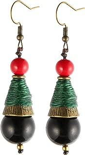 YANRUWoman Girl Indiana Earrings Ethnic Style Bohemian Earrings Handmade Dzi Beads Agate Earrings Holiday Gifts