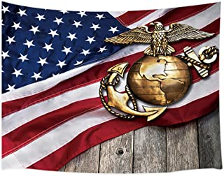 KOTOM Marine Eagle Tapestry, Globe and Anchor with American Flag Background, Living Room Bedroom Dorm Polyester Fabric Wall Hanging 80X60Inches