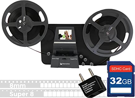 $409 » Wolverine 8mm & Super 8mm Reels to Digital MovieMaker Pro Film Digitizer, Film Scanner, 32GB SD Memory Card, Dual Voltage 100-240V Power Supply Adapter & International Two-Prong Round Pin Plug Adapter