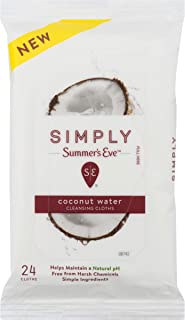 Summer's Eve Simply Cloths   Coconut Water   24Count   Pack of 1   pH Balanced, Free from Harsh Chemicals & Dyes