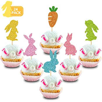 BESTOYARD Bunny Cake Toppers Cupcake Picks Easter Rabbit Cake Decorations for Birthday Easter Day Party Favors 12Pcs