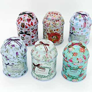 TooGet Elegant Metal Tinplate Empty Tins, Shabby Chic Mini-boxes for DIY Candles, Dry Storage, Spices, Tea, Candy, Party Favors, and Gifts - Random Color(Cylinder 6-Pack)