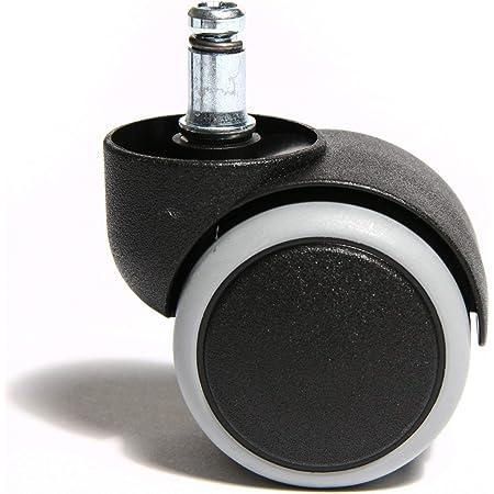 DELEX-Rollen 5 St/ück Hartbodenrollen Stift 10 mm f/ür B/ürostuhl Chefsessel mit PU Bereifung spurlos mit lastabh/ängiger Bremse