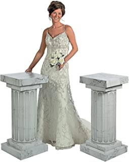 Fun Express Cardboard Marble-Look Fluted Pillars 3' Tall - Large Party Decor - Wedding, Prom, Formal Dances - 3D Stand Up - 2 Pieces