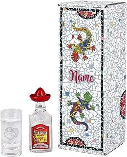 Herz & Heim Tequila Geschenk Set mit graviertem Schnapsglas und 0,4 l Sierra Tequila Silver in Geschenkverpackung