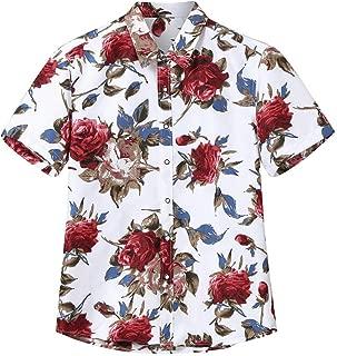 Men's Slim-fit Short-Sleeve Floral Print Shirt Round Hem Loose T-Shirt Tops