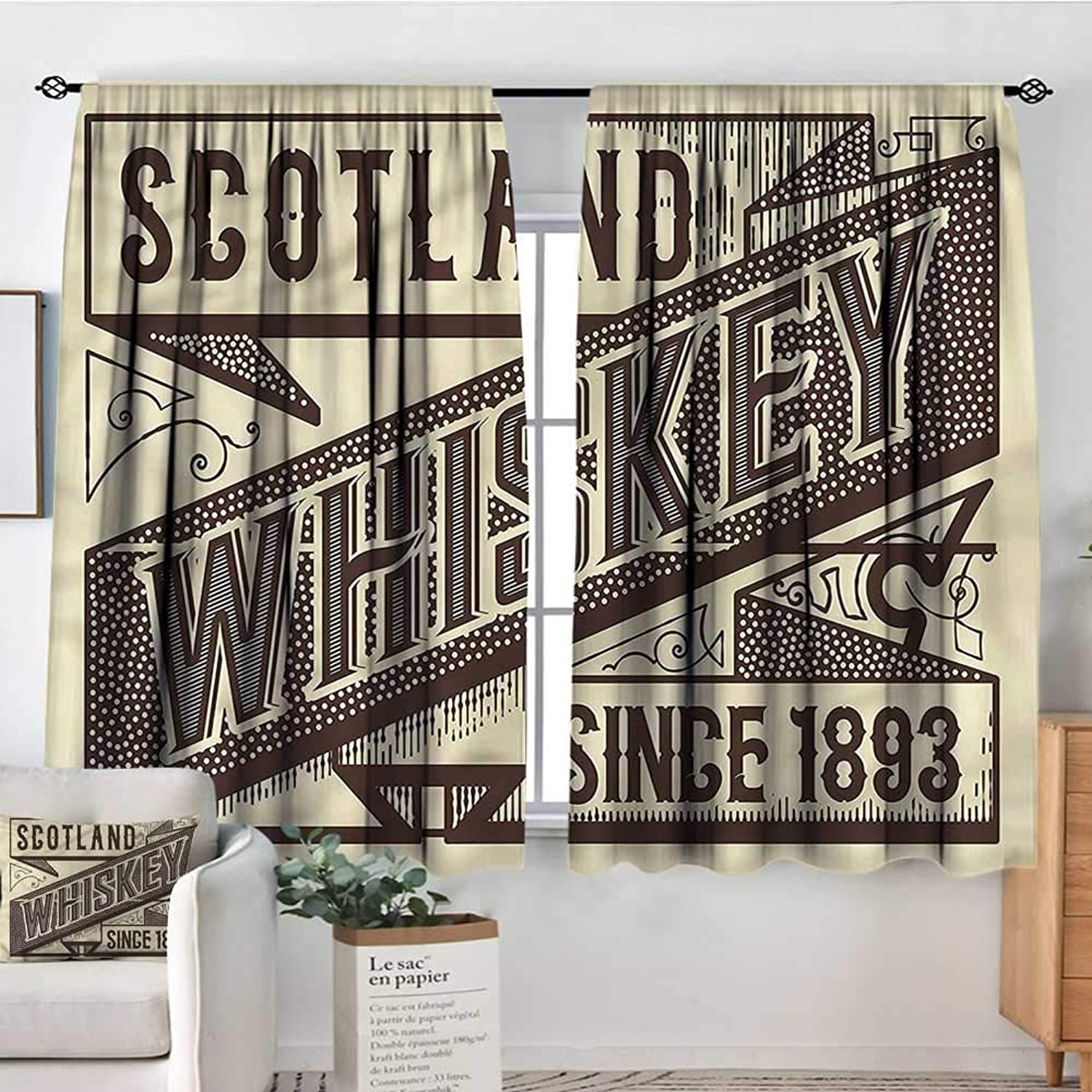Man Cave,Door Curtains Whiskey Label Old Design 42 X63  Home Decor Fashion Backout Draperies