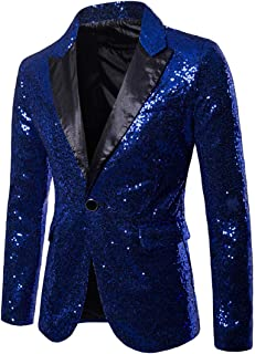 Rera Herren EIN Knopf Blazer Pailletten Gentleman Anzugjacke Slim Fit Sakko Mantel Bankett Party Smoking Anzüge