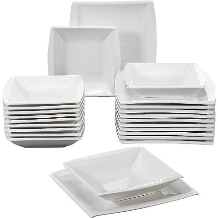 MALACASA, Série Blance, 24pcs Assiettes Services de Table Porcelaine, 12 Assiettes Creuse Soupe, 12 Assiettes Plates Dessert pour 12 Personnes