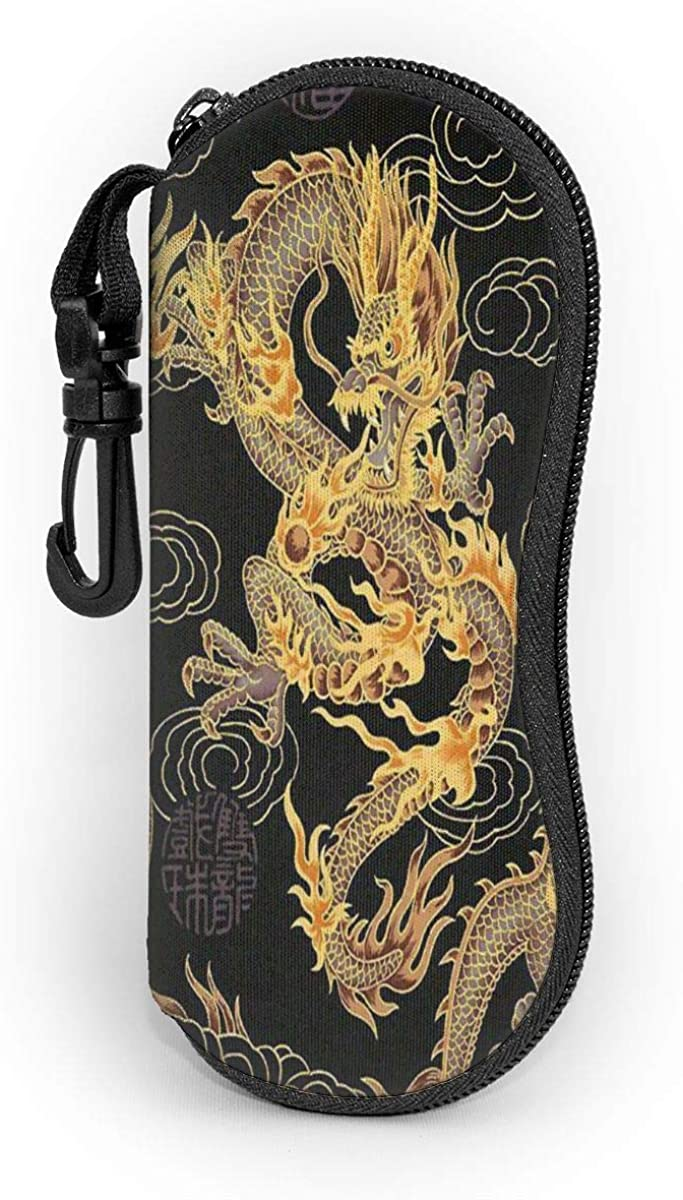 Sunglasses Chinese Dragon Golden And Black Soft Case Anti-Scratch Eyeglass Pouch With Carabiner Protective Unisex Eyewear Bag Outdoor Portable Eyeglass Case Fits Most Glasses
