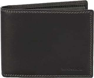 Banuce Soft Full Grains Italian Leather Bifold Wallet for Men Slim Wallet with Card Holder ID Window Coin Pocket Black