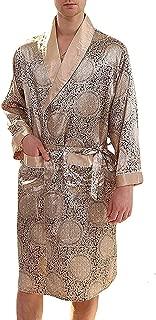 Men's Satin Robe Luxurious Silk Spa Long Sleeve Printed Kimono Bathrobe Lightweight Sleepwear