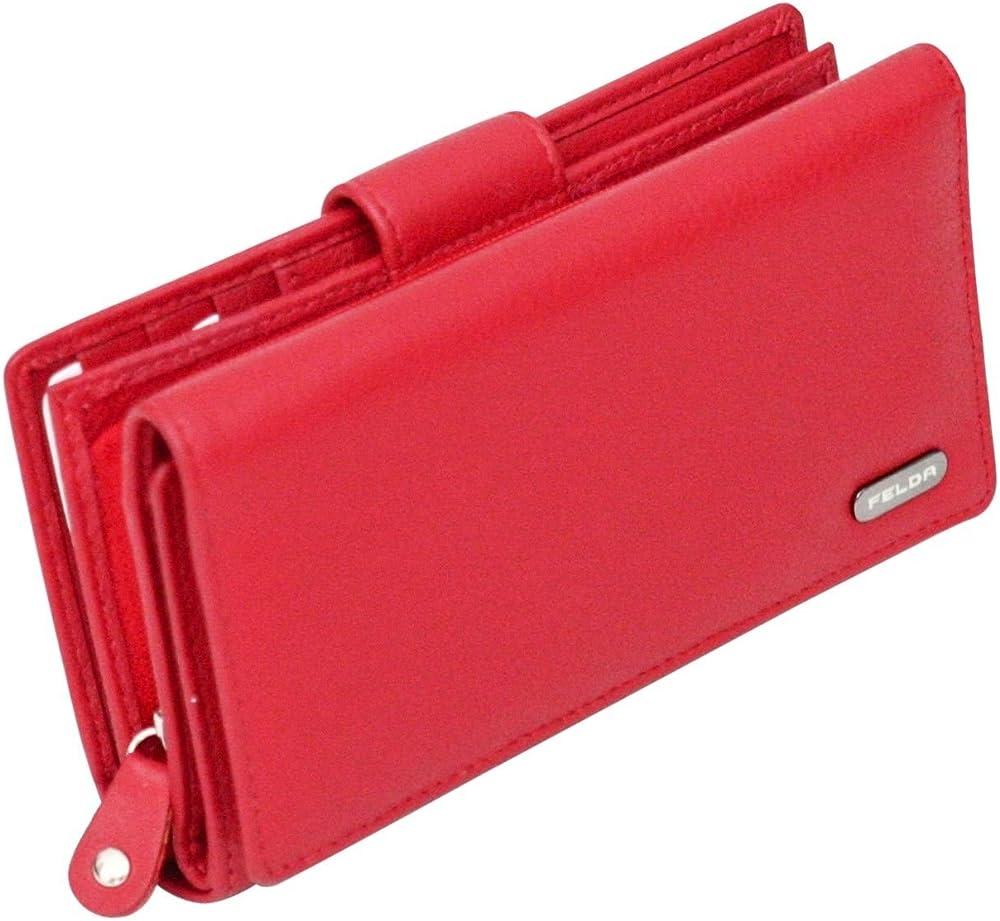 felda portafoglio rfid da donna , in vera pelle 16-104 red