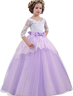 NNJXD Girl Lace Tulle Floor Length Bridesmaid Dance Ball Gown Dress for 7-14 Years