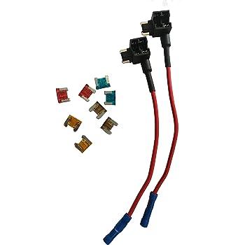 KOLACEN Automotive Car Truck 2 Pieces 16 Gauge Add-a-Circuit Fuse TAP Adapter for Low-Profile Mini Blade Type Fuse + 8 Pieces Low Profile Mini Fuse 5Apm 7.5Apm 10Apm 15Apm