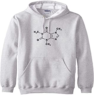 سويت شيرت رجالي بقلنسوة مطبوع عليه الجزيئي من الكافيين للربيع والصيف من النوع الثقيل، المقاس: XL (المقاس: XXXXX-Large)