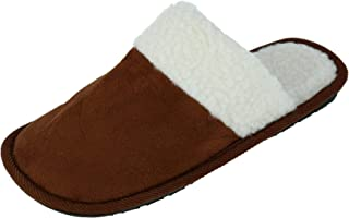 Westend Men's Solid Color Slip on Slippers, Small (7-8), Tan