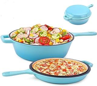 Suteck Enameled Cast Iron 2-In-1 Skillet Set, Heavy Duty 3.2 Quart Enamel Cookware Pot..
